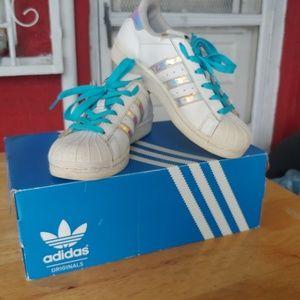 Adidas Superstar sneakers.